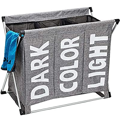 HOMEST Laundry Basket 3 Sections, Large Dirty Clothes Hamper Sorter for Bathroom, Foldable Hamper Divided, Grey - LARGE CAPACITY AND EASY SORT - Divided into 3 sections so you can sort your dark, color from light as you drop clothing into the hamper. Each laundry bag can hold up to 2 standard size loads of laundry CONVENIENT CARRY AND MORE STABLE - Feature with 2 detachable magic sticker straps attach to the aluminum frame, simple to get rid of and also clean. Two bottom strap makes the laundry hamper sturdier when use KEEP CLOTHES SECURELY - Both bins have a drawstring netting that can be closed so no clothes fall out when you move the hamper - laundry-room, hampers-baskets, entryway-laundry-room - 61C4Y8ZtilL. SS400  -