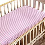 "NTBAY Toddler Fitted Crib Sheet 100% Organic Cotton with Striped Design, Soft and Cozy, Pink, 28""x 52""+10"""
