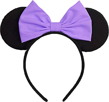 Minnie Mouse Ears Inspired Daisy Duck Light Purple Hair Bow Headband Women Girls Mickey Birthday Party
