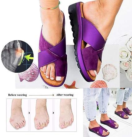 NIUJF Sandalias Corrector De Juanetes Zapatos Ortopédicos Viaje Verano Playa para La Mujer Se Adapta A