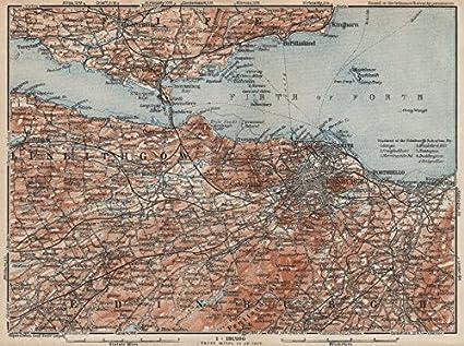 Leith Scotland Map.Amazon Com Edinburgh Environs Firth Of Forth Fife Leith