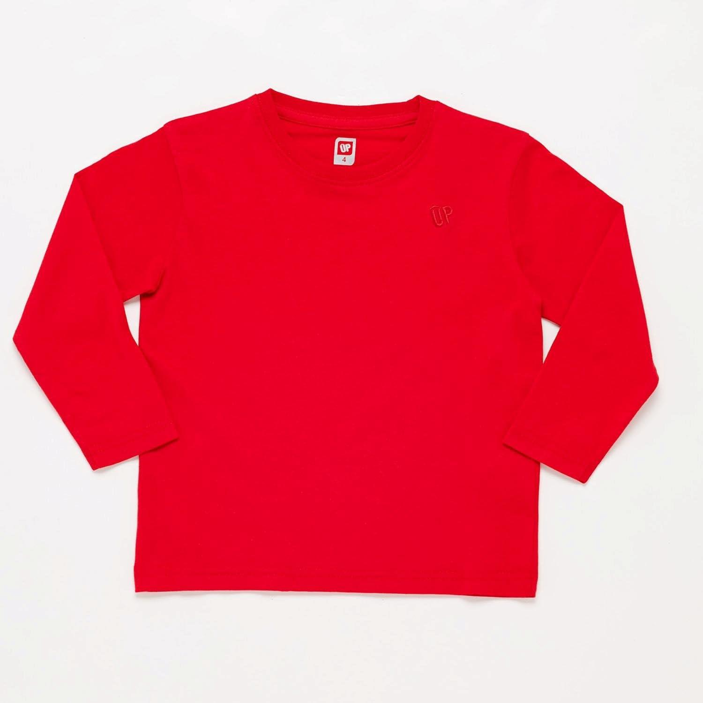 Camiseta Manga Larga Roja Niño Up Basic (Talla: 8) : Amazon ...