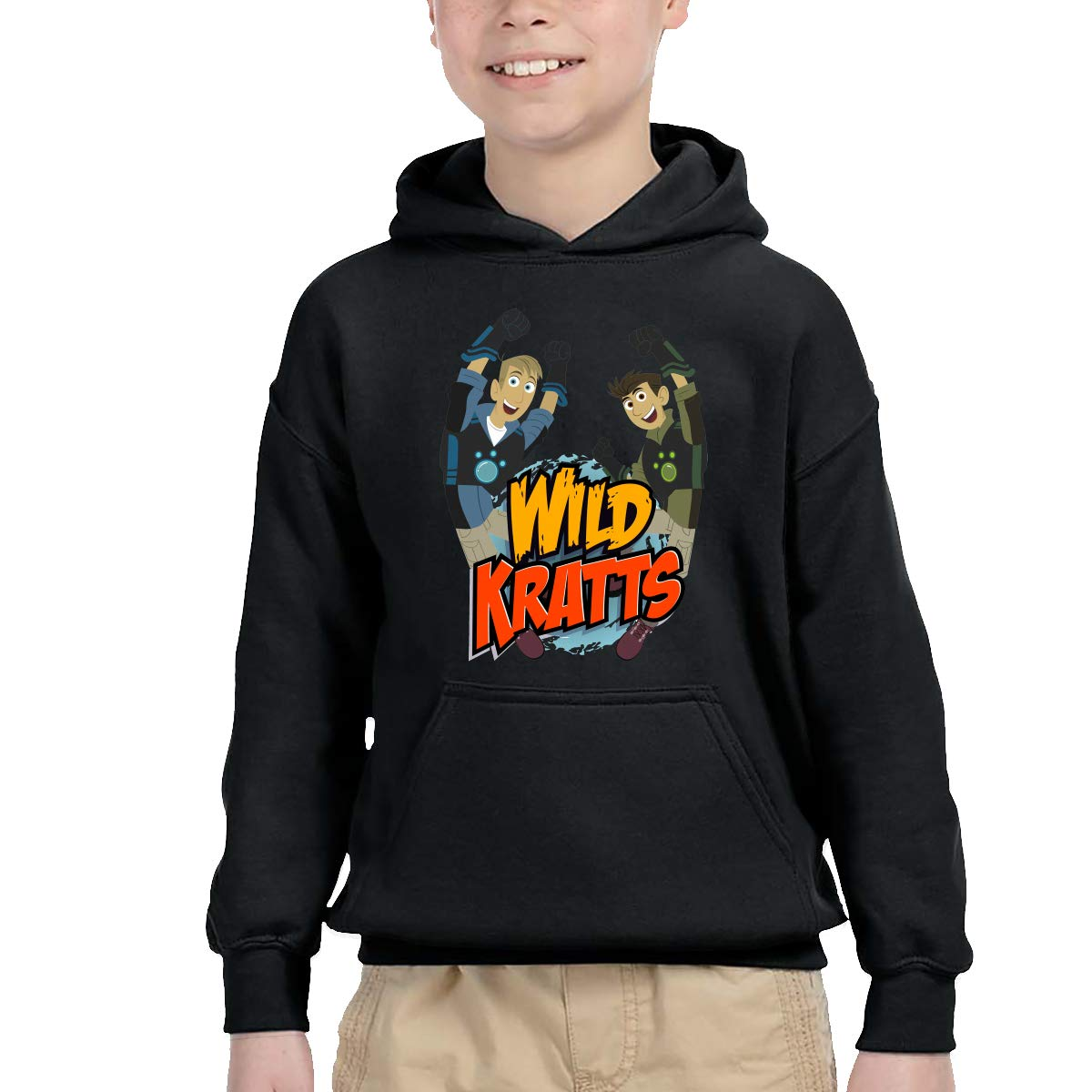2-6 Year Old Childrens Hooded Pocket Sweater Original Retro Literary Design Wild Kratts Logo Black
