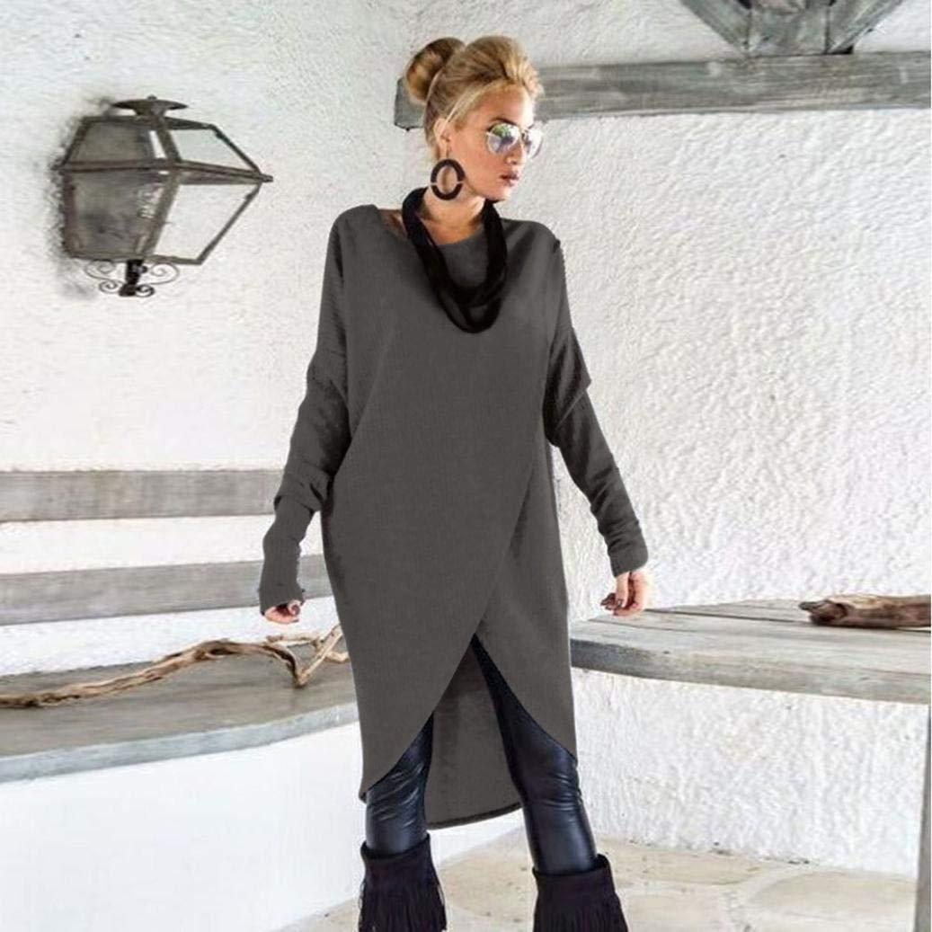 BOLAWOO Vestiti Donna Eleganti Fashion Irregular Asimmetrica Camicia  Vestiti Autunno Invernali Mode di Marca Manica Lunga alla Rotondo Collo  Baggy Monocromo ... e9ddd700c2b
