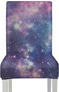 AQQA SlipcoverforDiningChair Starry Galaxy Universe SlipcoversforDiningChairs Stretch Removable Washable ChairSeatCoversforDiningRoom for Home Kitchen Party Restaurant Wedding