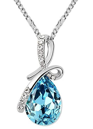 Buy shining diva silver plated teardrop crystal necklace for women shining diva silver plated teardrop crystal necklace for women aloadofball Image collections