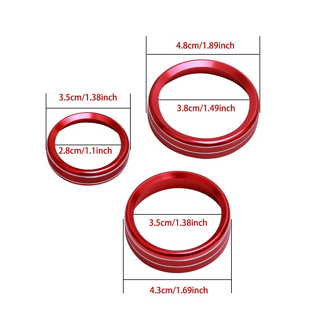 Red 6PCS Aluminum Alloy Car Inner Air Conditioner/&Audio Switch Knob Ring Button Cover Trim for Ford F150 XLT 2016 2017 2018