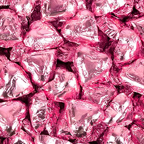 Pink Foil Heart - Madelaine Milk Chocolate Hearts, Pink Foil - 5lb, Approx 275 Pieces
