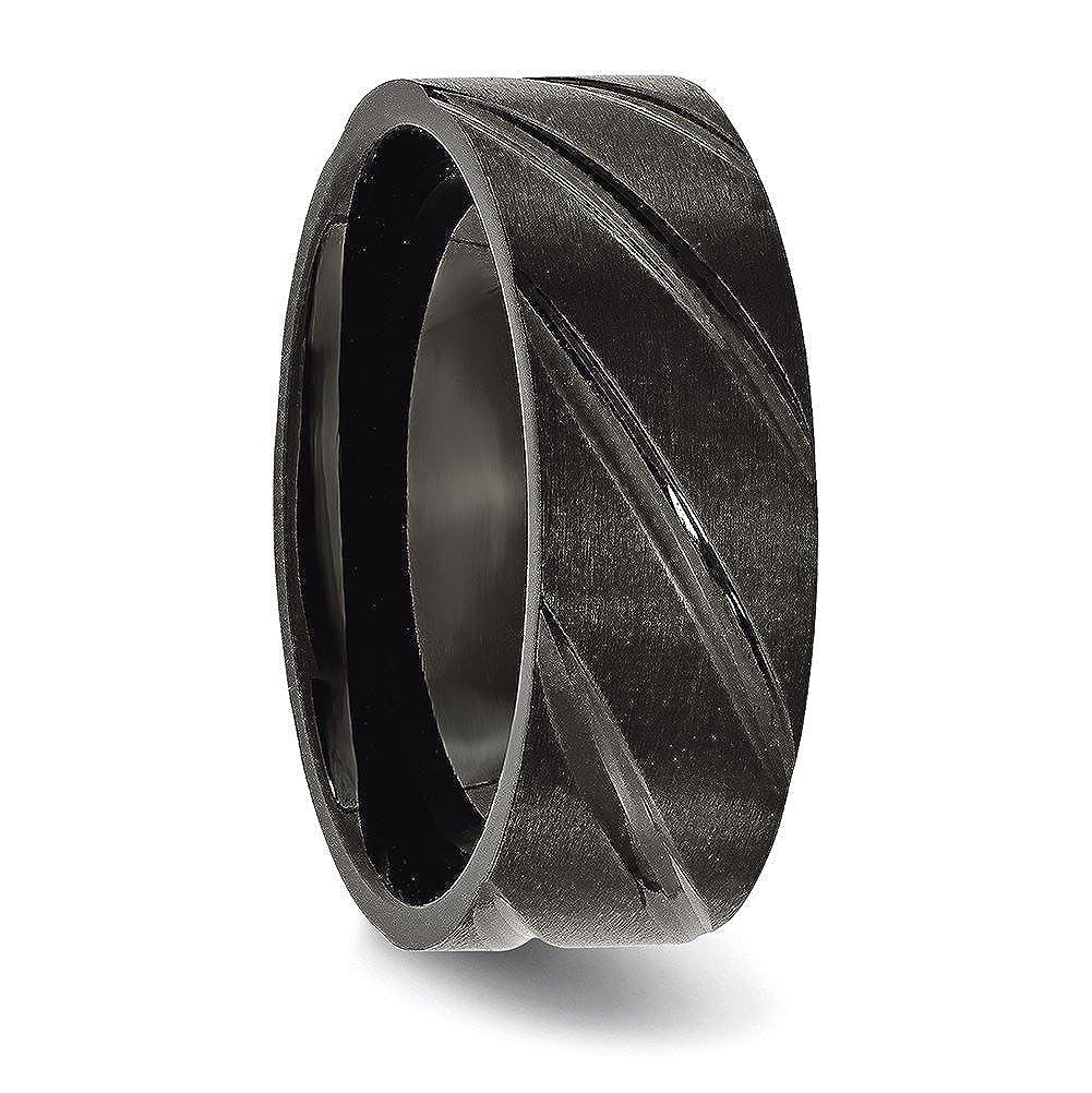 Titanium Swirl Design Black IP-plated 8mm Brushed//Polished Band