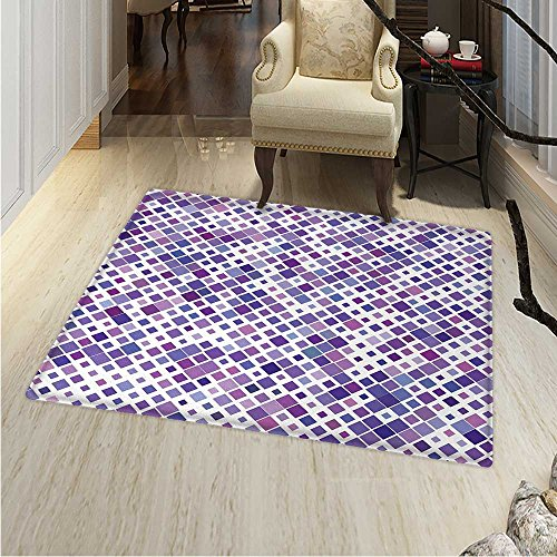 Lavender Area Silky Smooth Rugs Retro Mosaic Creative Pattern Square Rhythm Abstract Art Print Design Home Decor Area Rug 4'x5' Violet Purple White