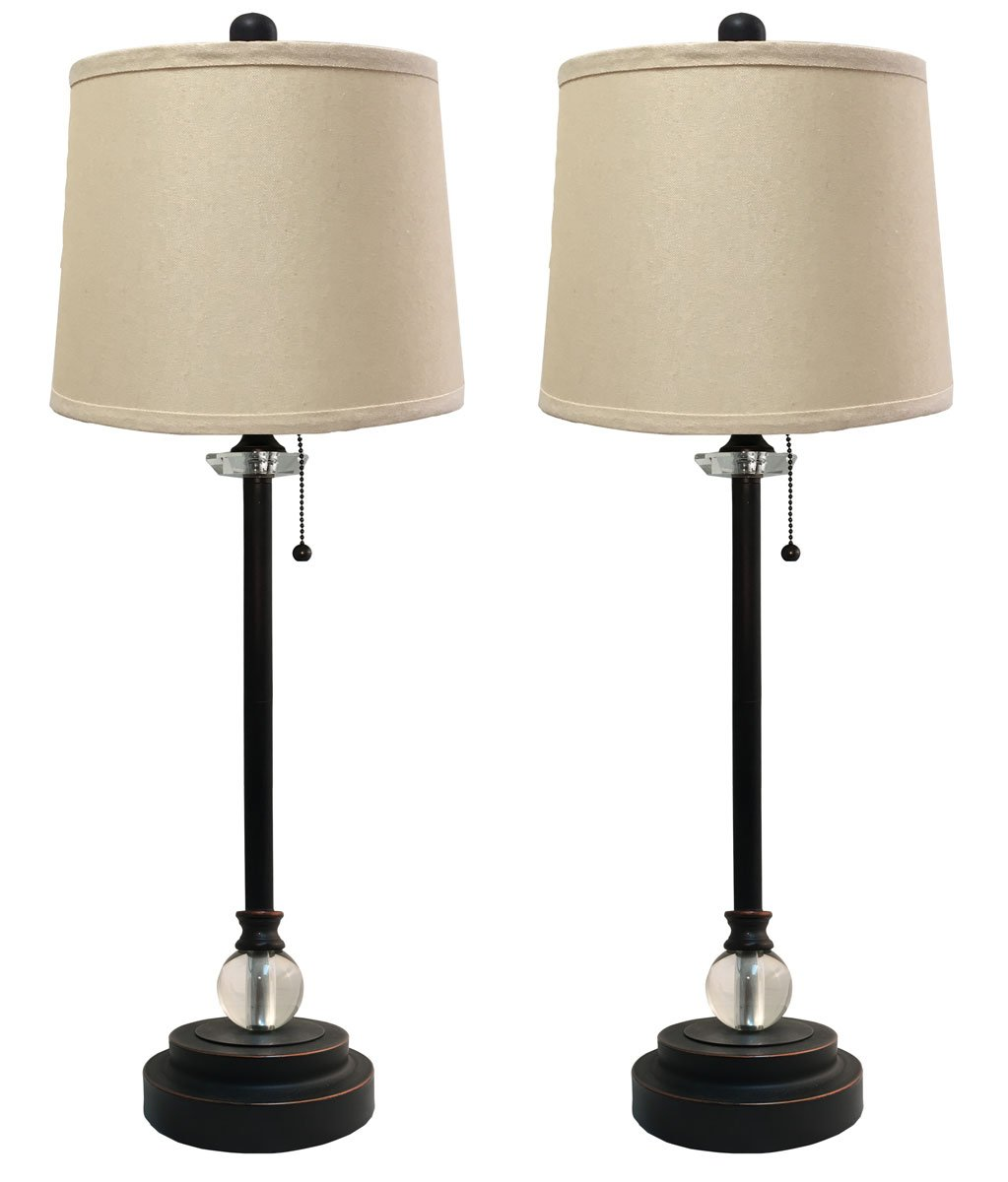 Royal Designs LS-1001ORB-2 Buffet Lamps in Oil Rub Linen Beige Hardback Shades, 27'' Tall, Bronze, 2 Pack