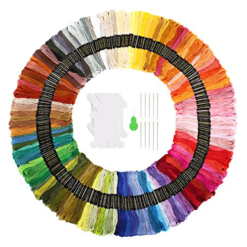 Embroidery Floss SOLEDI Cross Stitch Threads 150 Skeins Rainbow Colors Craft Floss for Friendship Bracelets with Embroidery Tools