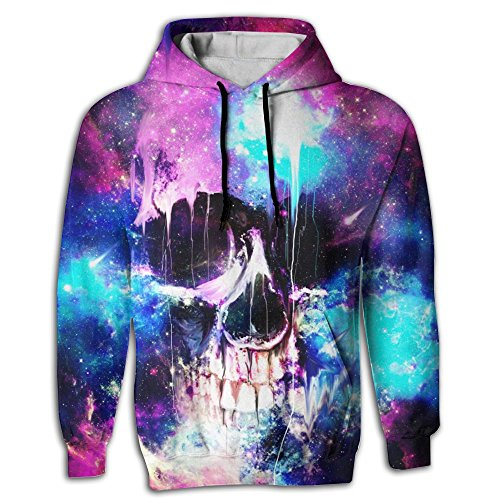 Casual Unisex Galaxy Skull Space Storm 3D Realistic Printed Pullover Sweatshirt Large - Yellow Jackets University Building