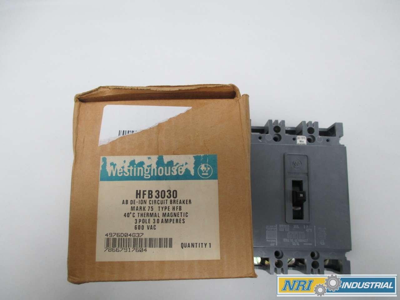 NEW WESTINGHOUSE HFB3030 MOLDED CASE 3P 30A AMP 600V-AC CIRCUIT BREAKER D349001
