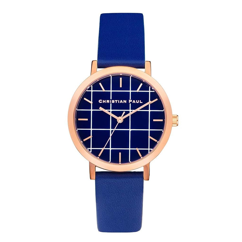 Christian Paul grl-04 Herren Edelstahl blau Leder Band Blau Zifferblatt Armbanduhr