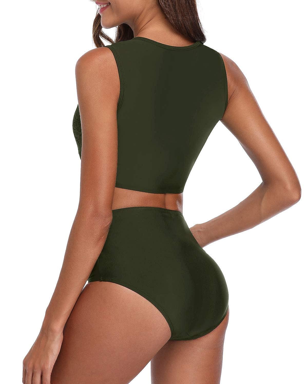 Tempt Me Two Piece High Neck Swimsuit for Women Padded Lace Mesh Knot Hem Bikini Set Bathing Suit
