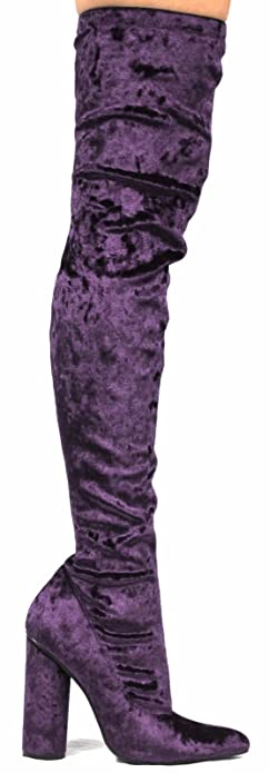 8d0fea0f69423 Amazon.com   CAPE ROBBIN Paw-27 Crushed Velvet Stretchy Pointy Toe Thigh  High Over Knee Block Heel Boot Purple   Shoes