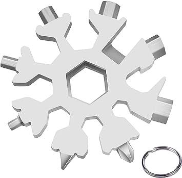 Cacciavite Bottle Opener Keychain Chiave per Viaggi in Campeggio fiocco di neve multi-strumento,18in1 Portable Snowflake Multi Tool,Strumento Fiocco di Neve in Acciaio Inossid