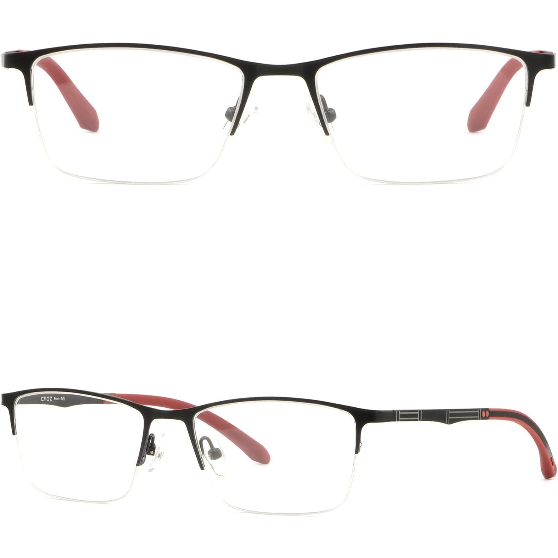 f7105669210e Amazon.com  Thin Light Men s Women s Titanium Frames Half Rim Rectangle RX  Glasses Black  Clothing