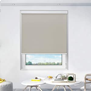 Donutse Windows Shades Cordless Roller Shades, Window Blinds and Shades for Home and Office, 100% Blackout,Thermal Insulated, UV Protection, Beige(Upgrade Version), 48
