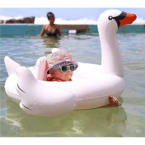 UClever Flotador para Bebé con Asiento Barca Bebé de Piscina Flodador Cisne Blanco