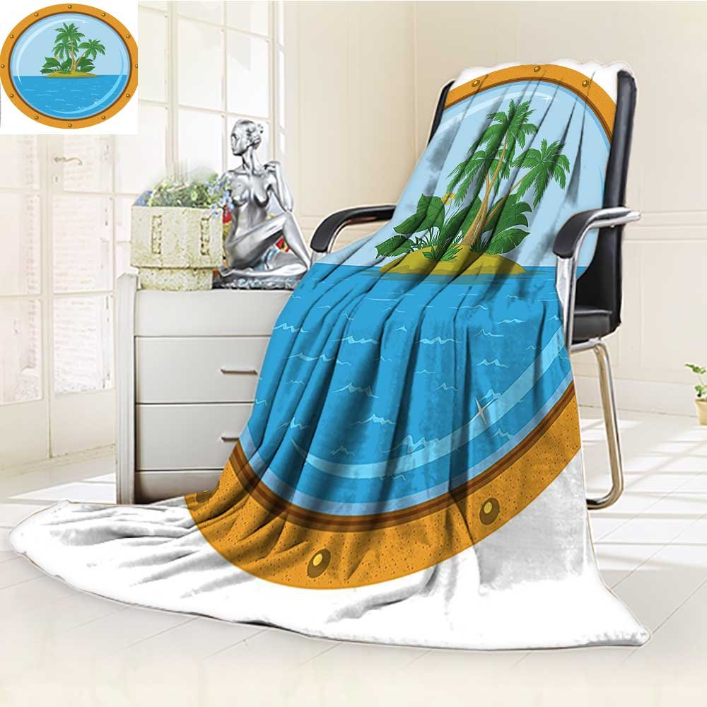 YOYI-HOME Digital Printing Duplex Printed Blanket of Tropic Island View from The Bronze Ship Window with Palm Trees Blue Green Orange Summer Quilt Comforter /W59 x H86.5