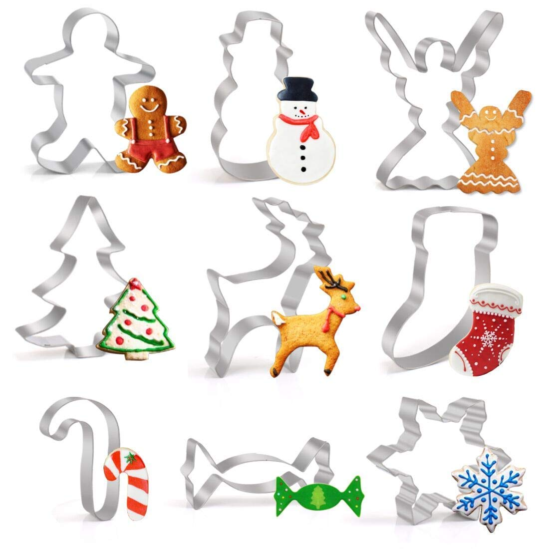 Winter Christmas Cookie Cutter Set- LEEFE Gingerbread Men, Snowman, Snowflake,Candy Cane, Christmas Tree, Angel, Reindeer, Candy - Stainless Steel
