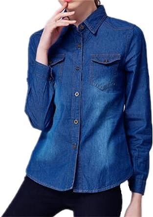 Tayaho Camisa Mujer Camisetas De Manga Larga Vaquera Outwear Jeans Color SÓLido Blusa De Elegante Vintage Casual T Shirt Largo Cardigan Camisa Botones: Amazon.es: Ropa y accesorios