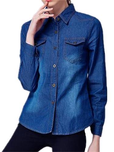 Tayaho Camisa Mujer Camisetas De Manga Larga Vaquera Outwear Jeans Color SÓLido Blusa De Elegante Vi...