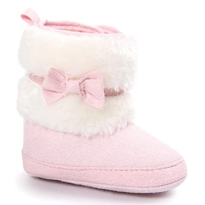 Baby Shoes, Egmy Bowknot Warm Soft Sole Snow Boots Soft Crib Shoes Toddler Boots