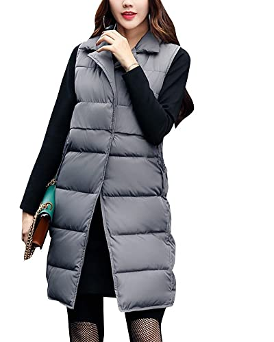 Mujer de Pluma sin Manga Chaleco Acolchado Ligero Plegable Sudadera de Plumón Ropa de Invierno Chaqu...