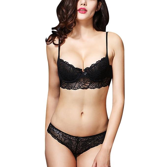a54936d840302 Women Sexy Lace Bra Set Deep V Push Up Underwear Transparent Ultra-Thin  Hollow Out