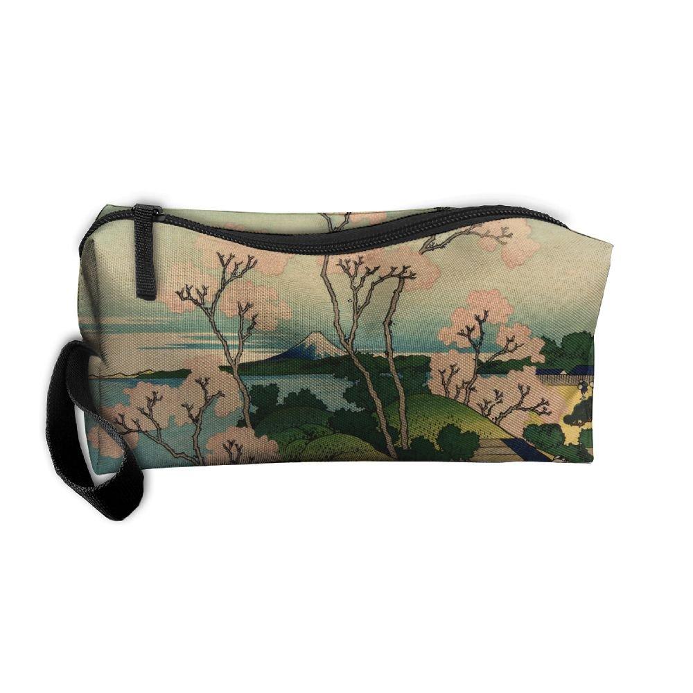 7444629f14 lovely EWSDa Hokusai Japan Ink Cherry Blossom Mount Fuji Cosmetic Bag  Unisex Multifunctional Receiving Bag
