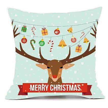 elogoog merry christmas cute series pillows cover snowman elk printing thankgiving halloween decor pillowcase sofa waist - Merry Christmas Cute