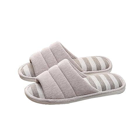 WANGXN Mens Lino suave cálido base algodón zapatillas interior plano bajo talón antideslizante zapatillas oto?