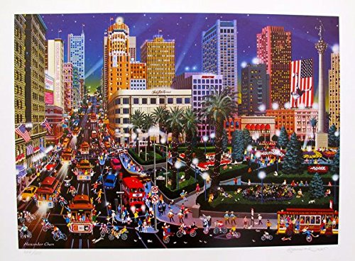 Art by Alexander Chen Union Square San Francisco Hand Signed Limited Edition Lithograph Print. After the Original Painting or Drawing. Paper 17.5 Inches X (Limited Edition Art Union)