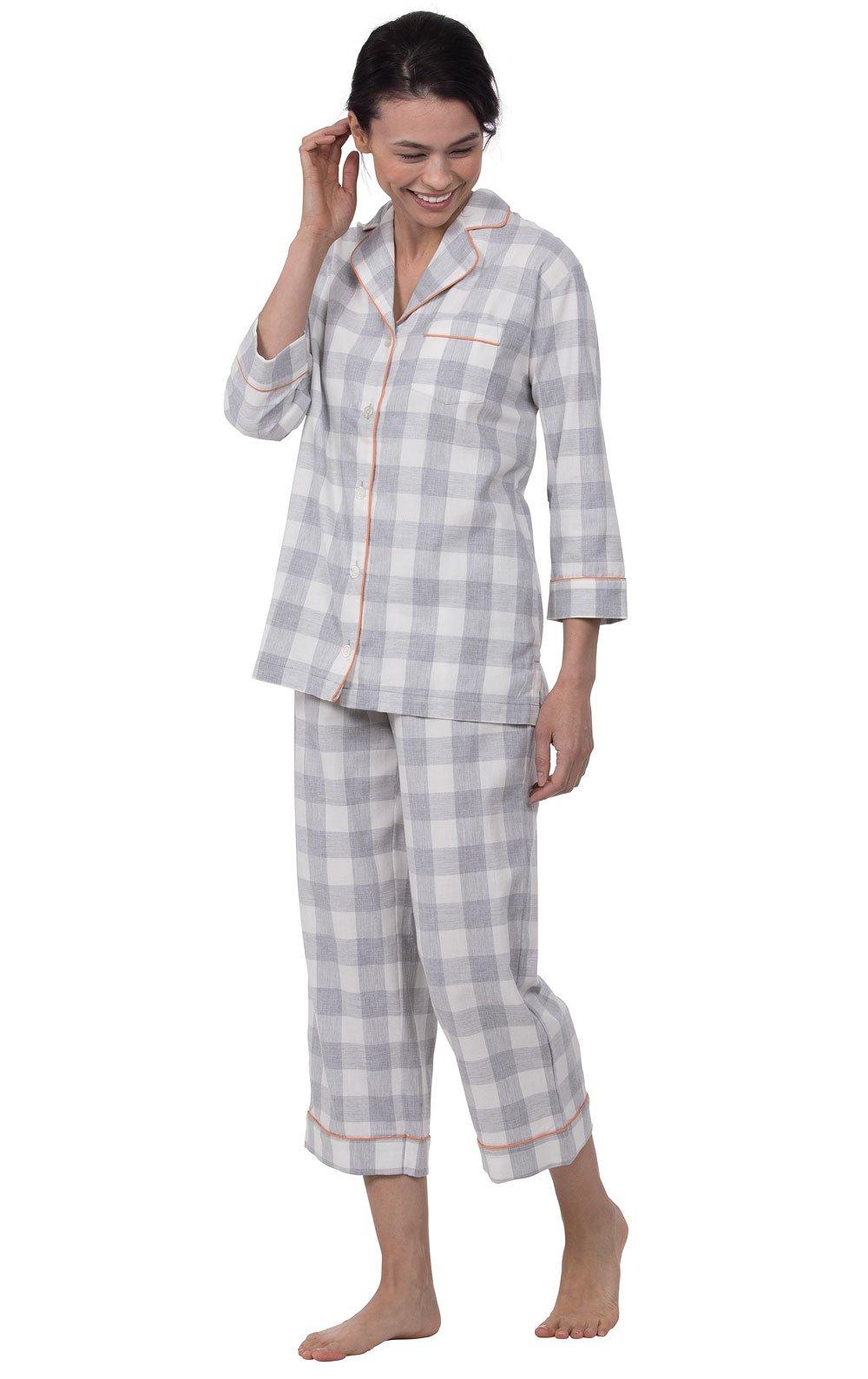 PajamaGram Lightweight Summer Womens Pajamas - Pajama Set, Grey, Large / 12-14