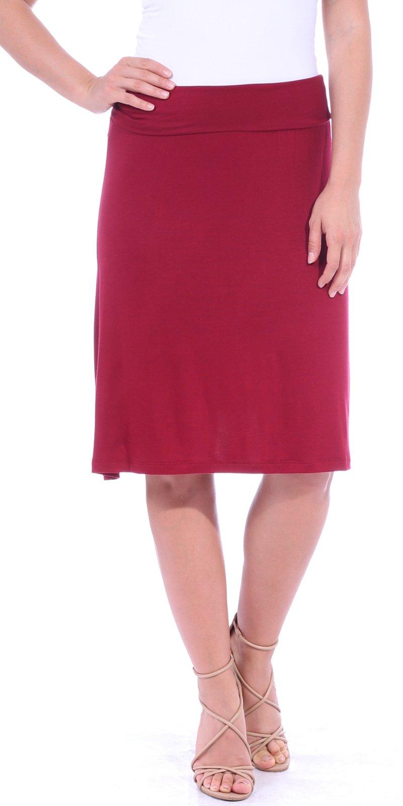 Popana Women's Casual Stretch Midi Knee Length Short Summer Skirt - Made in USA Medium Burgundy