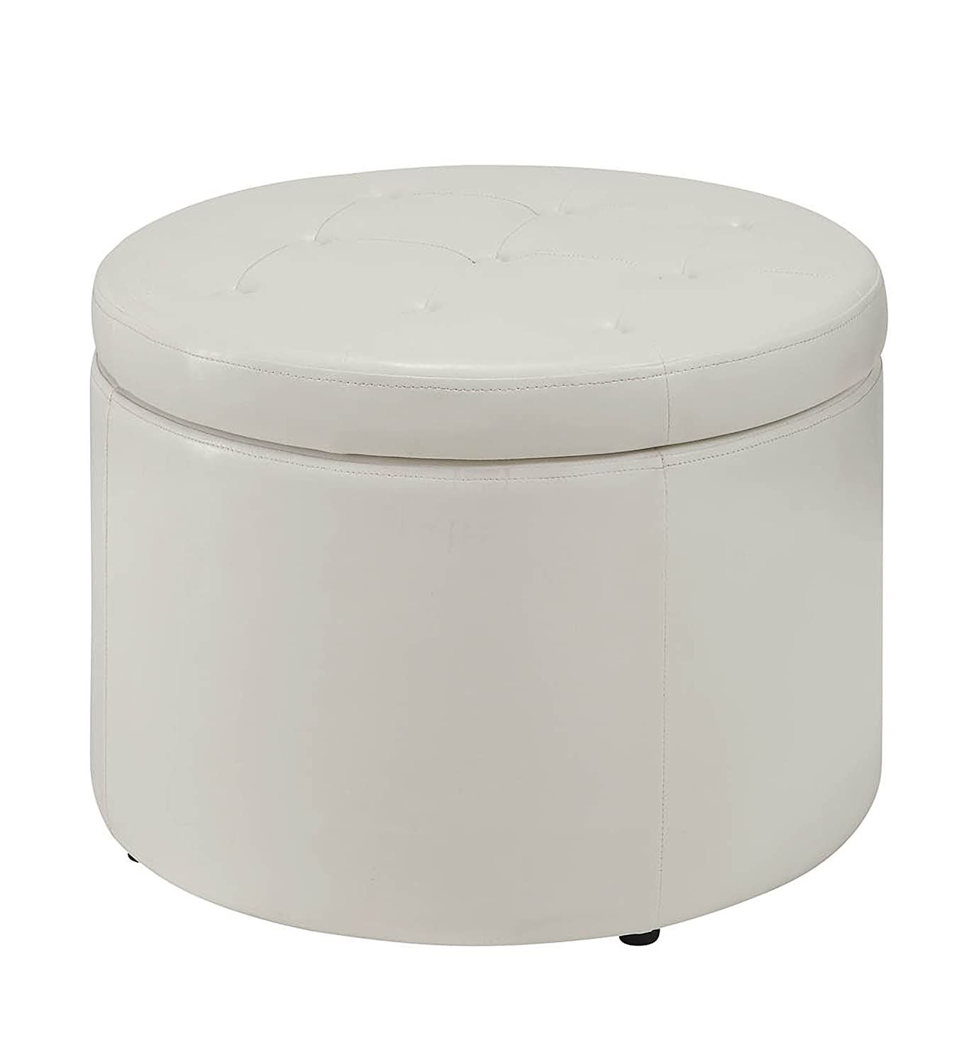 Amazon.com: Convenience Concepts Designs4Comfort Modern Round Shoe Ottoman,  Rich Ivory: Kitchen U0026 Dining