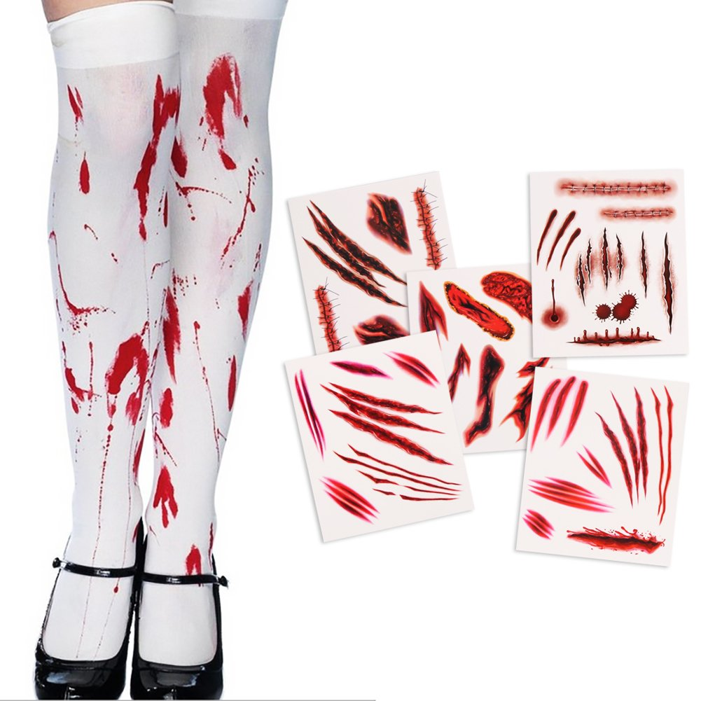 LOKIPA Blood Stains Stockings and 5Sheet Halloween Wounds Tattoos Temporary