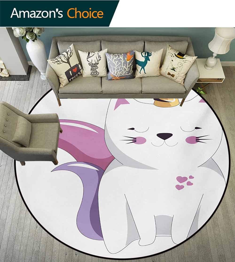 RUGSMAT Unicorn Cat Modern Vintage Rugs,Fictitious Horned Character with Cute Face Expression Girls Kids Area Rug - Perfect for Any Place,Round-71 Inch Pale Pink Orange Lilac