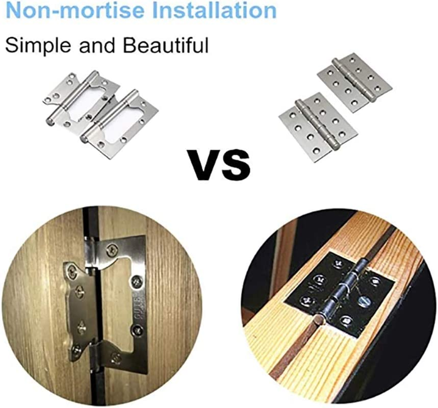Color : Silver, Size : 4 inch ZnMig Stainless Steel Door Hinges Pack of 4 Invisible Door Hinges Stainless Steel Butterfly Groove-Free 4 Inch Flush Hinges Anti-Rust and Mute Smooth Movement