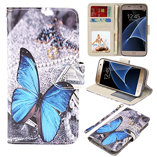 S7 Case, UrSpeedtekLive Galaxy S7 Wallet Case, Premium PU Leather Wristlet Flip Case Cover with Card Slots & Stand for Samsung Galaxy S7,Blue Butterfly