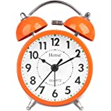Useful Retro Twin Bell Alarm Clocks Mute Silent Quartz Movement Non Ticking Sweep Second Hand Bedside Desk Analog Morning Wake Up Alarm Clock with Nightlight Backlight and Loud Alarm HA01 Orange