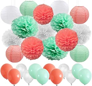 45 pcs Mint Green Coral White Tissue Paper Flowers Ball Pom Poms Paper Lanterns Balloons for Coral Themed Party Decor Wedding Christening Baby Shower Party Garland Decoration Favor