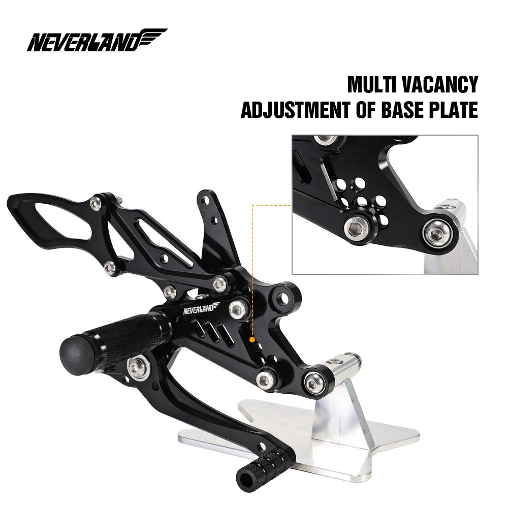 NEVERLAND CNC Motorcycle Adjustable Rearsets Footpegs Rear Sets for HONDA CBR1000RR 2004-2007//CBR600RR 2003-2006 Black