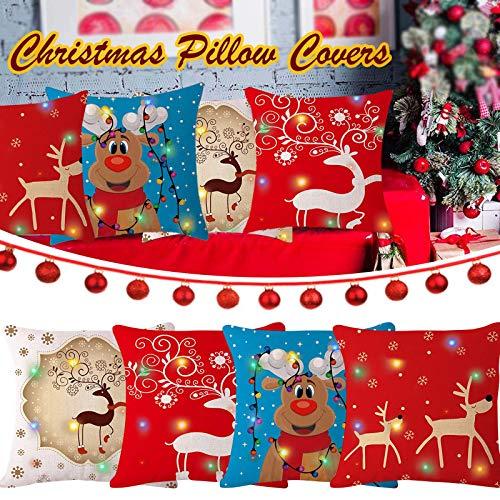 clacce Weihnachten Deko Kissenbezug,Schneeflocke Rentier&Weihnachtsmann Muster Kissenbezug Weihnachten,Kissenbezug Dekokissen,Schneeflocke Rentier&Weihnachtsmann Muster Weihnachtsbeleuchtung LED