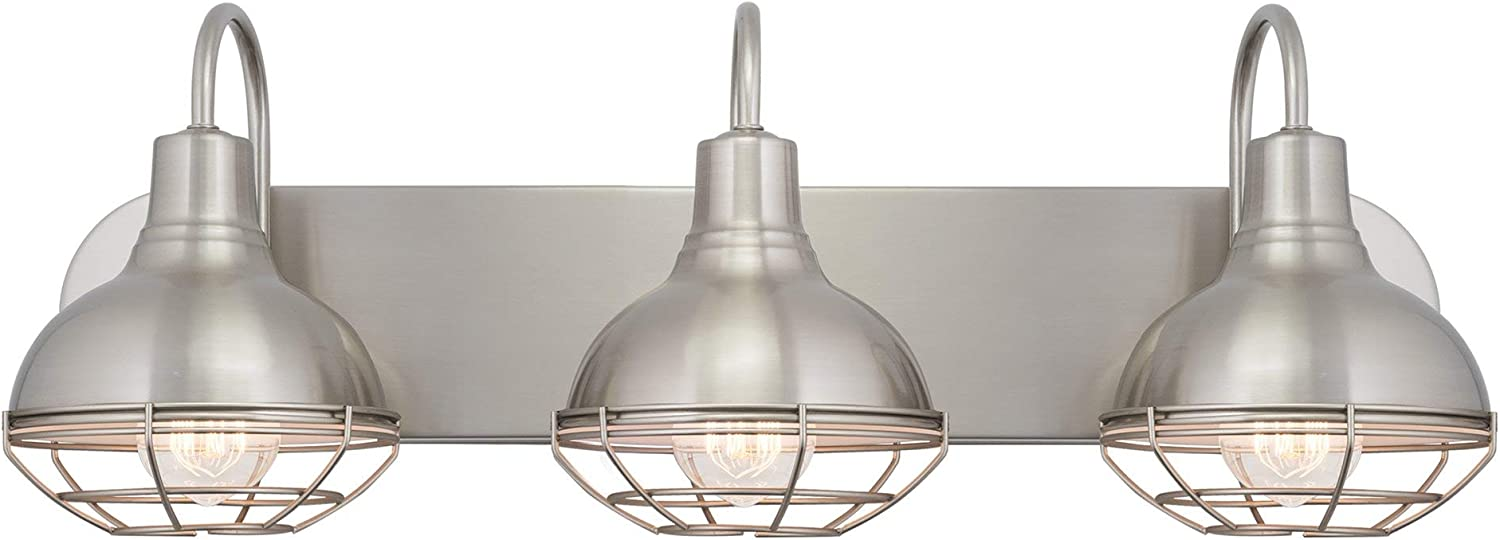 Kira Home Liberty 24 3-Light Modern Industrial Vanity Bathroom Light, Brushed Nickel Finish