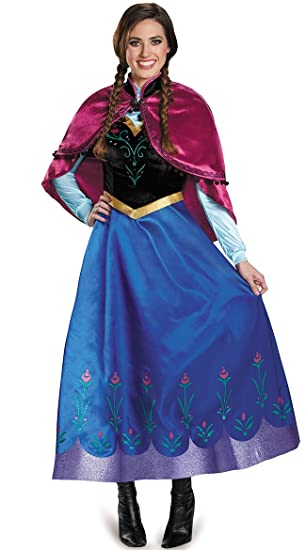 724fc73809f Amazon.com  AA2 Adult Anna Winter Dress Disney Frozen Disguise Halloween  Costume PXS-PXL USA (PXS)  Clothing