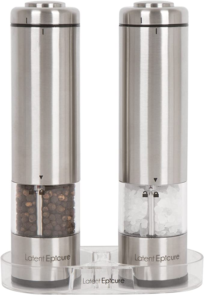 Amazon.com: Latent Epicure Battery Operated Salt and Pepper Grinder Set (Pack of 2 Mills) - Complimentary Mill Rest | Bright Light | Adjustable Coarseness |: Kitchen & Dining
